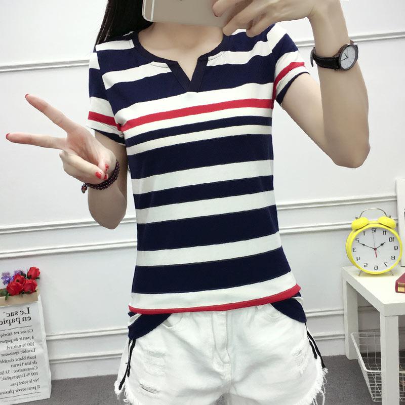 短袖女t恤夏季韩版修身显瘦纯棉学生大码女装百搭条纹v领半袖上衣