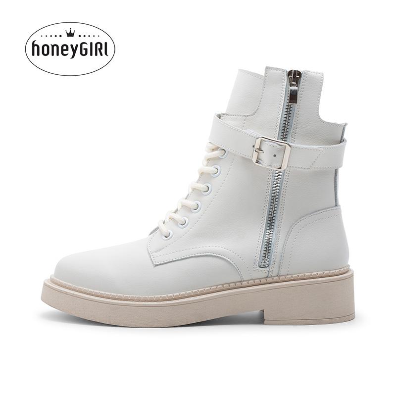 honeyGIRL短靴女2019新款冬季真皮马丁靴英伦风帅气粗跟靴子百搭
