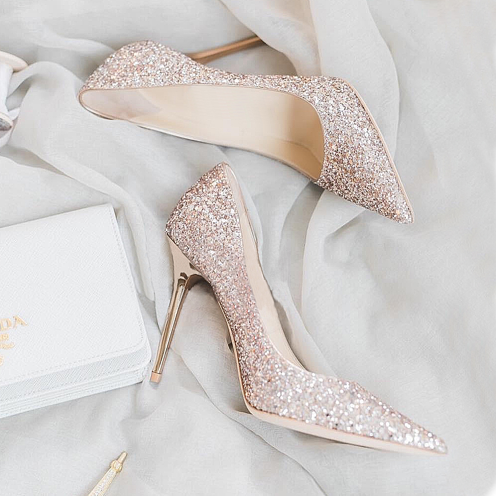 Bridal shoes wedding shoes female 2018 new gold sequins high heels fine  with bridesmaid crystal shoes c0c71362353d