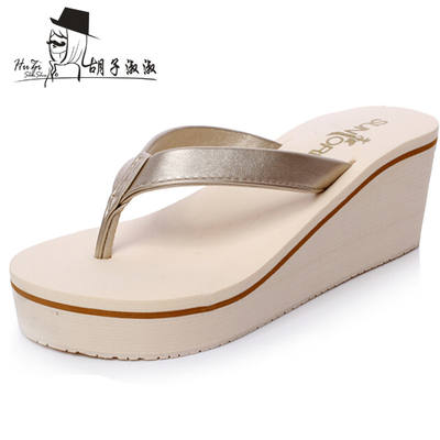 f731d2e5b High-heeled flip-flops Korean version of the fashion thick-soled slope ...