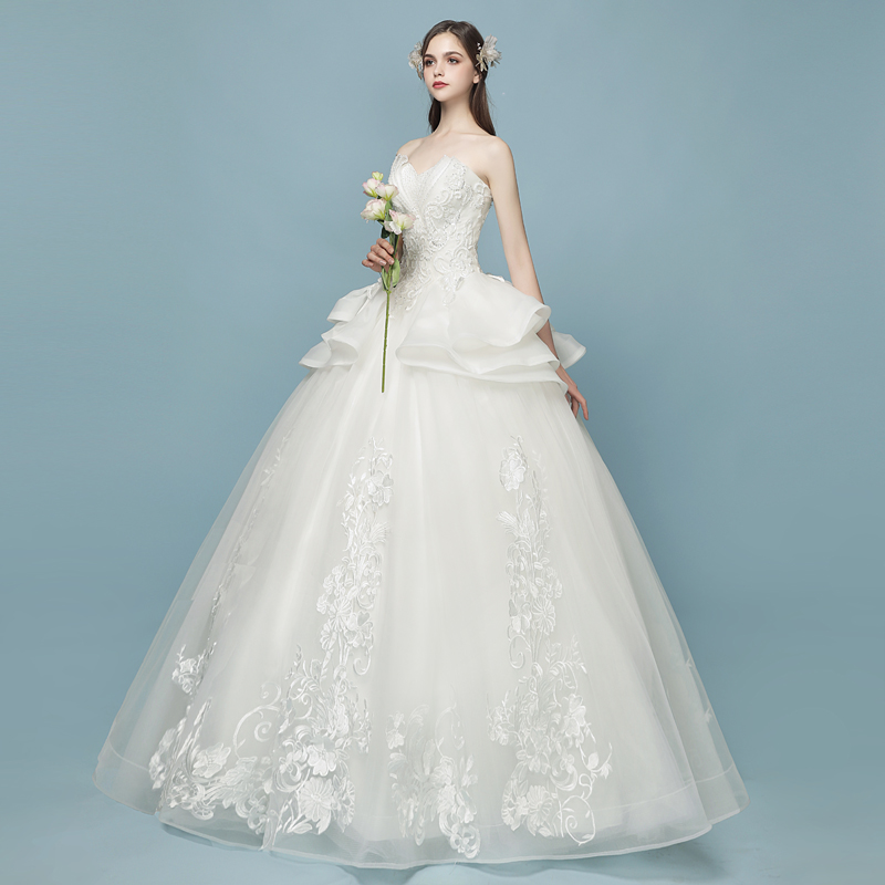 Wedding 2018 new simple luxury tube top Qi Qi Europe and the United ...