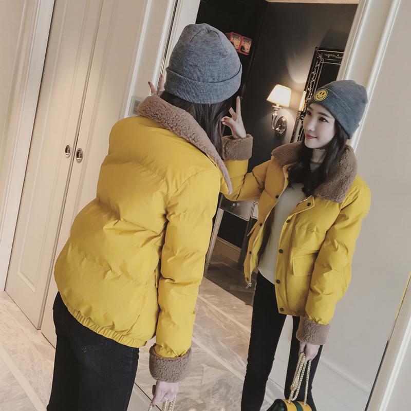 Chống mùa 2018 ngắn mùa đông lamb fur cổ áo bông nhỏ 袄 nữ cao đẳng gió bánh mì bông coat jacket Harajuku coat Bông