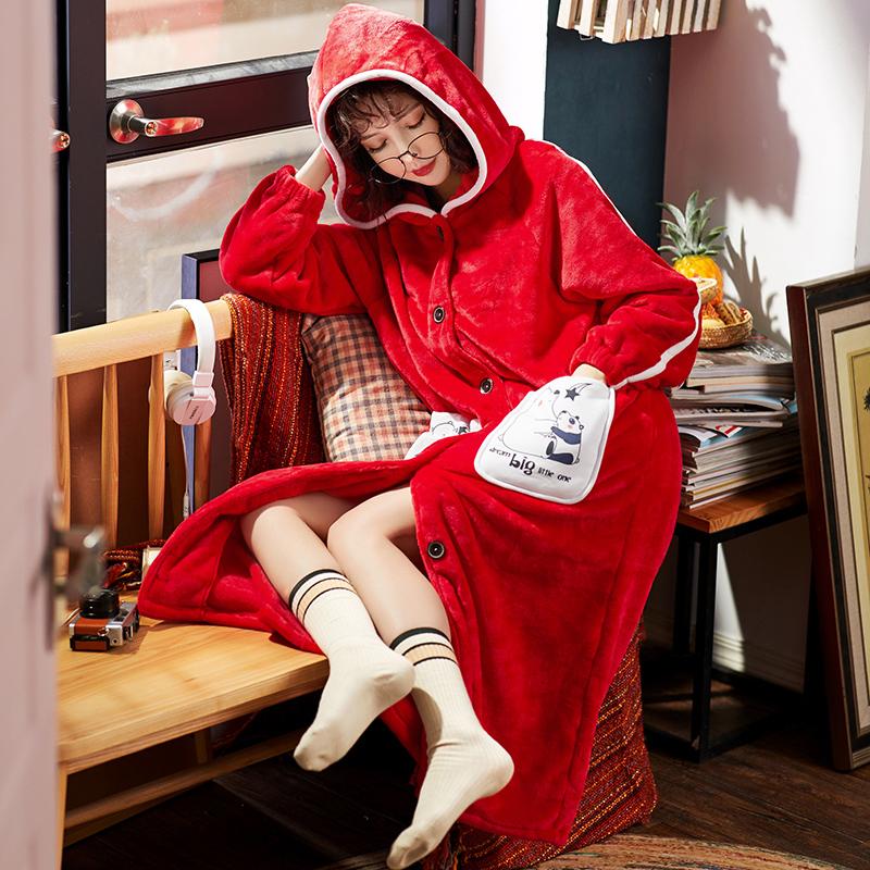秋冬珊瑚绒睡袍女甜美可爱连帽睡衣长袖加厚法兰绒冬季浴袍家居服