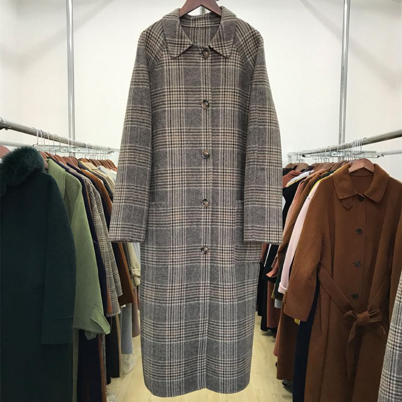 Chống mùa 18 mùa thu và mùa đông Hàn Quốc phiên bản mới của hai mặt khâu tay len thời trang hoang dã đơn ngực retro kẻ sọc áo dài