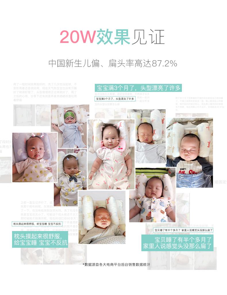 婴儿枕头透气0-1岁新生儿纠正偏头防偏头初生宝宝头型矫正定型枕商品详情图