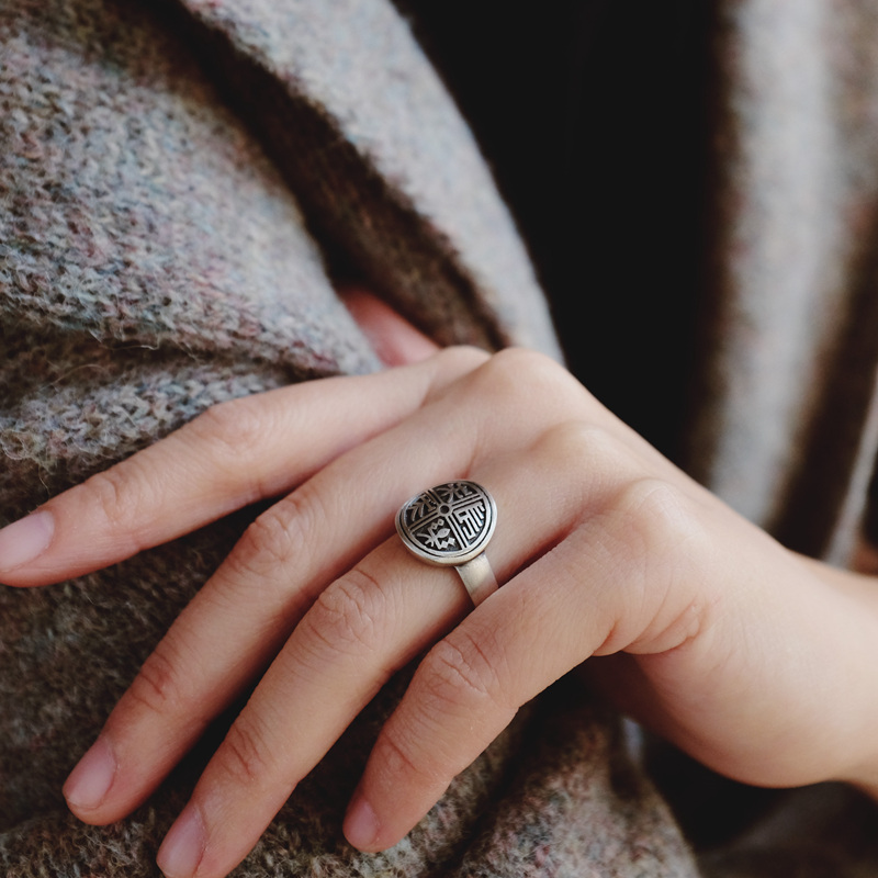 Changle Southern Southern sterling silver jewelry handmade Chinese style national style fashion personality retro female model open ring