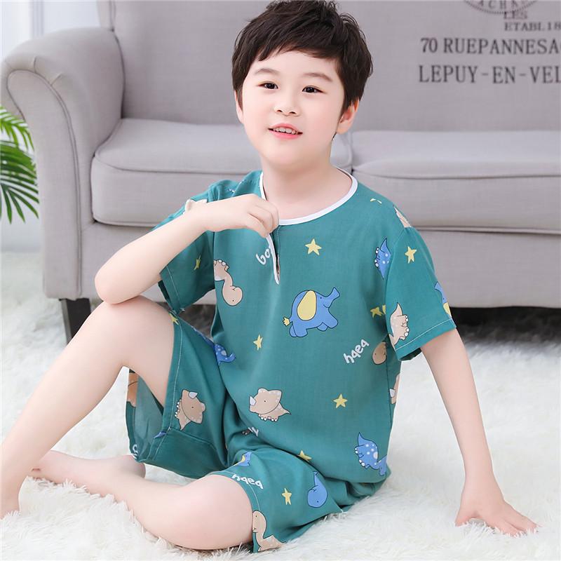 夏季短裤女童套装睡衣绵绸宝宝棉绸儿童男童小孩子短袖薄款家居服