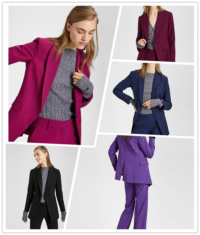 9355c13713 Shaoxing meidai theory 17 autumn and winter wool buckle slim long suit  jacket ETIENNETTE B