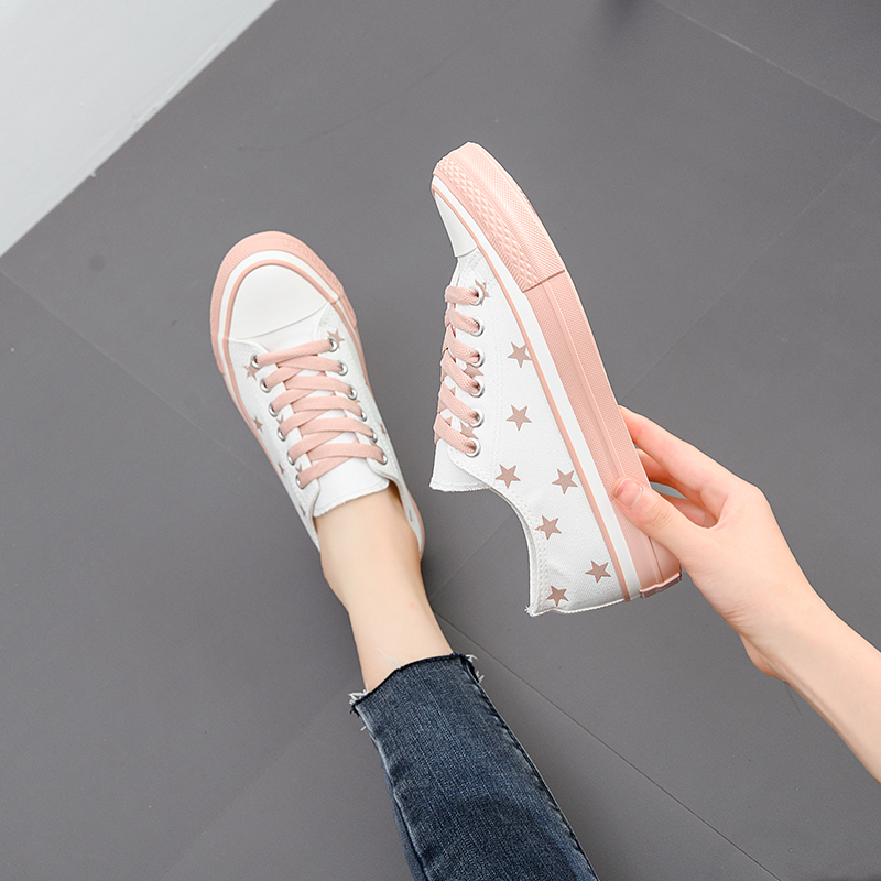 Fresh little white shoes women's fall 2019 new star Canvas shoes Korean Style set simple white Casual shoes