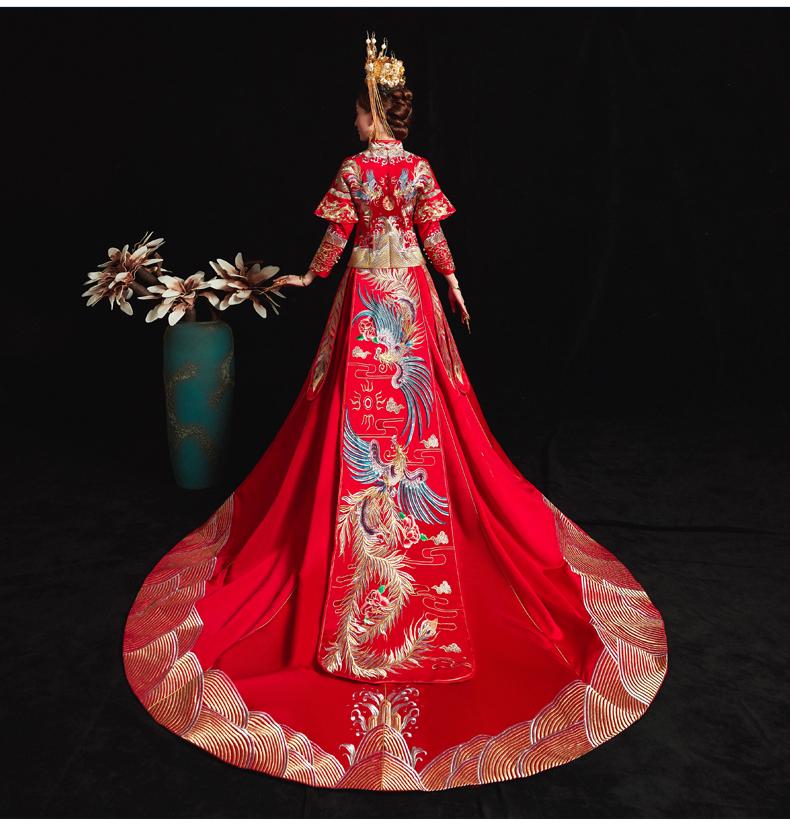 秀禾服新娘新款结婚礼服男女套装和服婚纱中式情侣龙凤挂秀禾详细照片