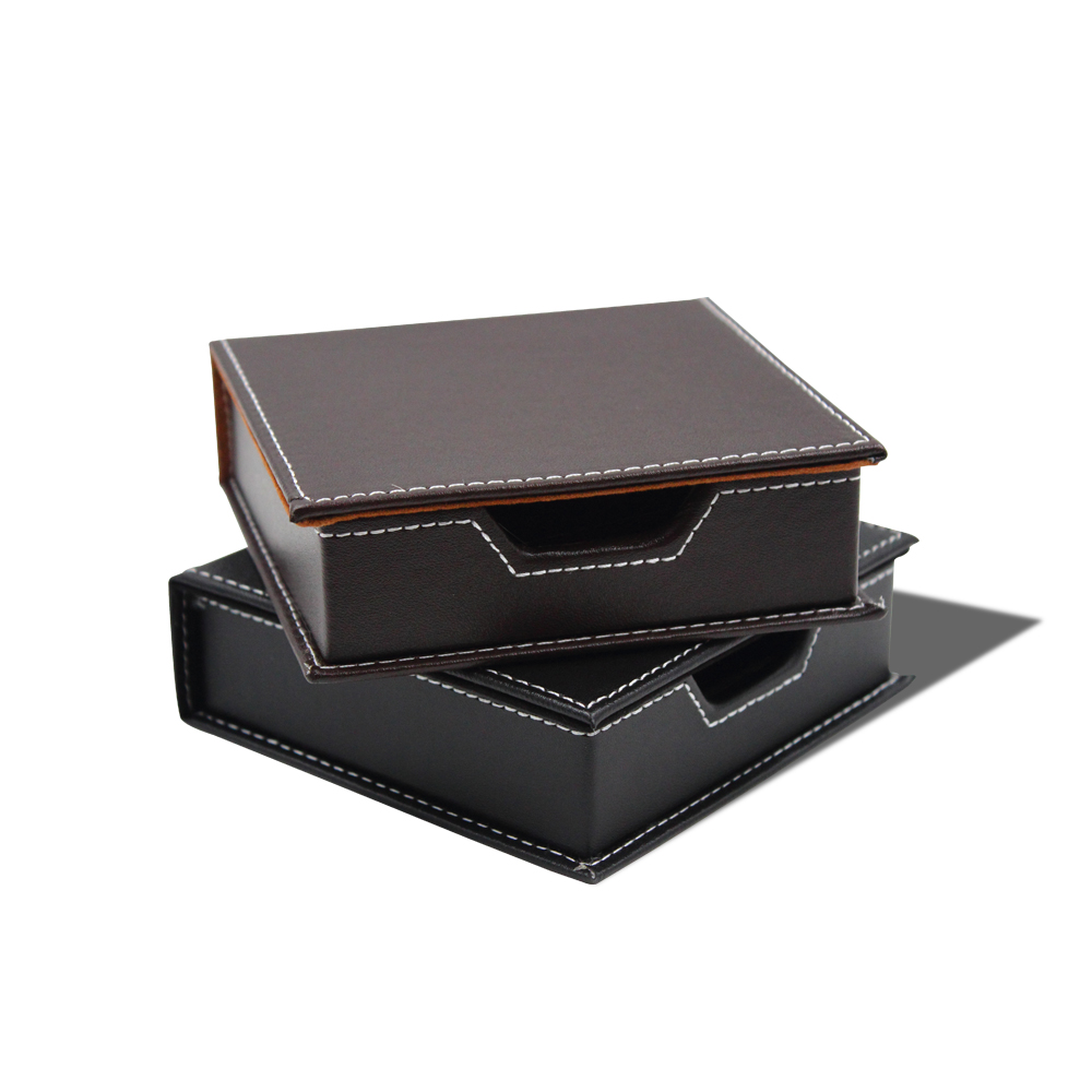 USD 14.29] Leather note-box note-taking paper holder small storage ...
