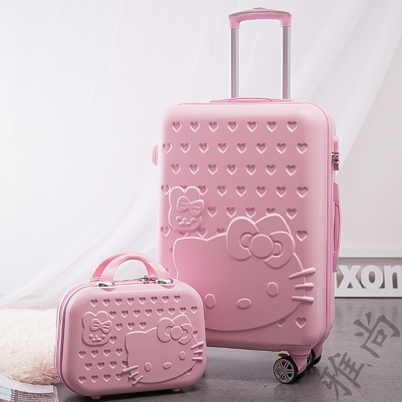 Color : Beige, Size : 20inch XFRJYKJ-Luggage box Korean Version of The Small Fresh Universal Wheel Password Suitcase Beige