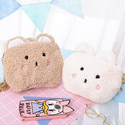ZEEVI cute small bag female 2017 new tide Korean version of the autumn Messenger bag cashmere lamb cartoon chain bag
