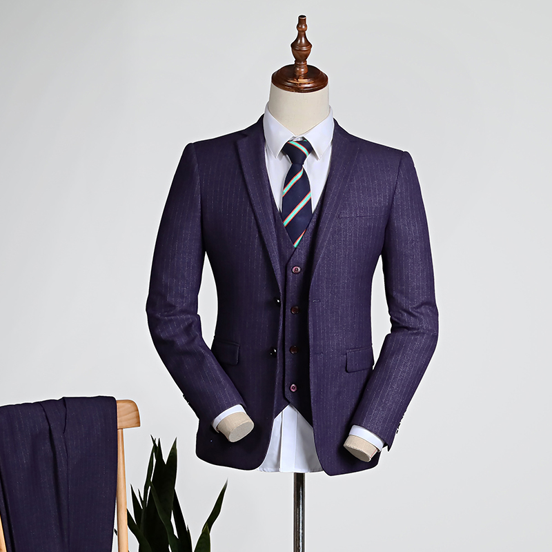Purple Pinstripe/blue [top + Vest + Trousers]