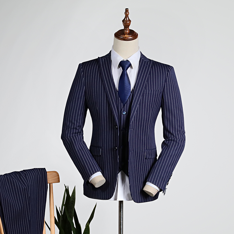Dark Blue Vertical Stripes [shirt + Vest + Trousers]