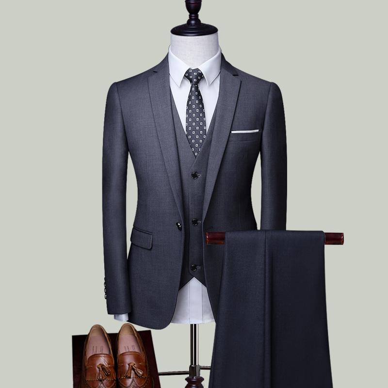 GRAY SINGLE BUCKLE THREE-PIECE SUIT (TOP + VEST + TROUSERS)