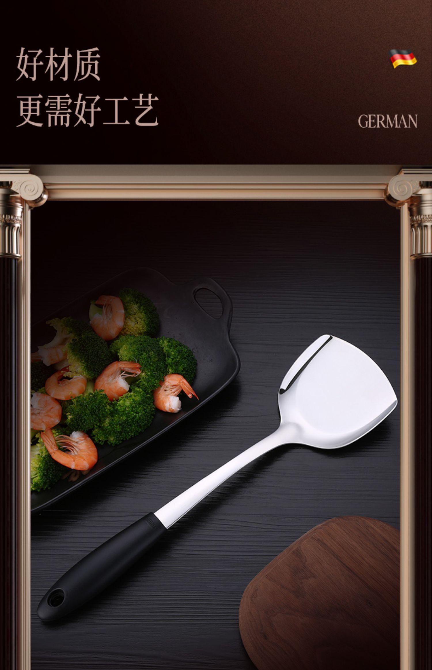 SSGP 德国304不锈钢大汤勺家用火锅勺子盛粥汤勺厨房加厚长柄大号商品详情图