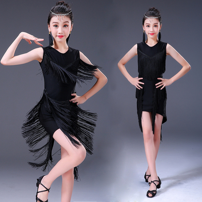 Girls Latin Dance Dresses Latin dance skirt children's and girls' training clothes tassel performance clothes children's competition test clothing