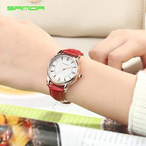 三达2018新款手表女学生简约时尚韩版潮流防水女表红色皮带石英表