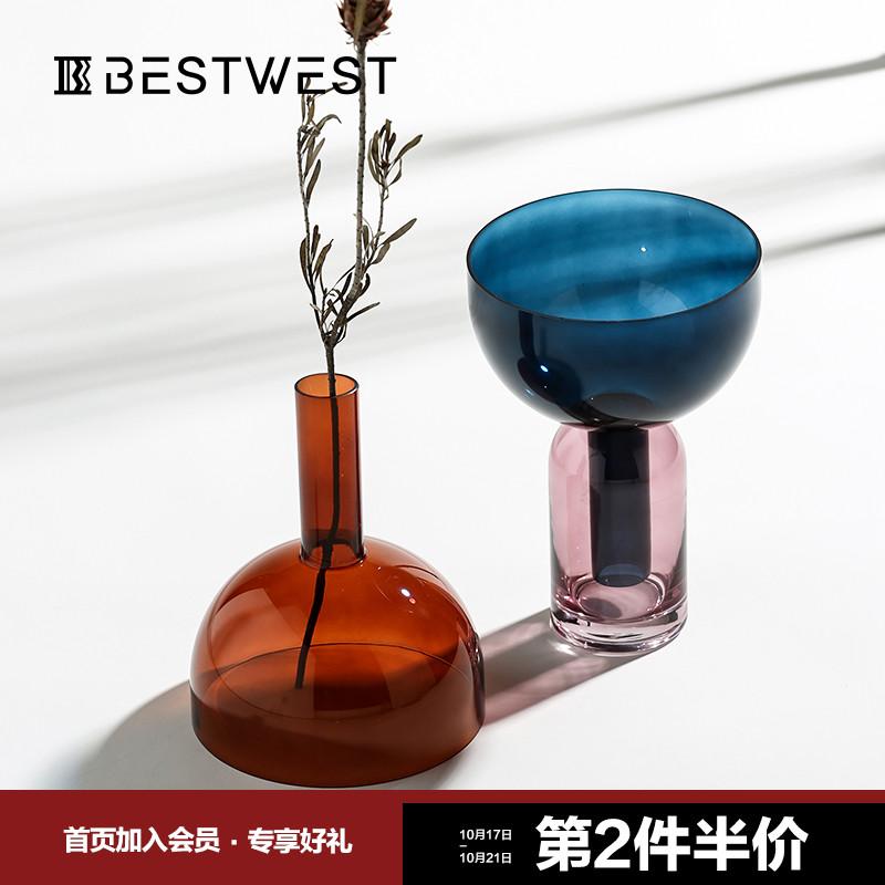轻奢花瓶客厅餐桌透明玻璃摆件v花瓶瓶北欧摆设装饰品几何拼色创意