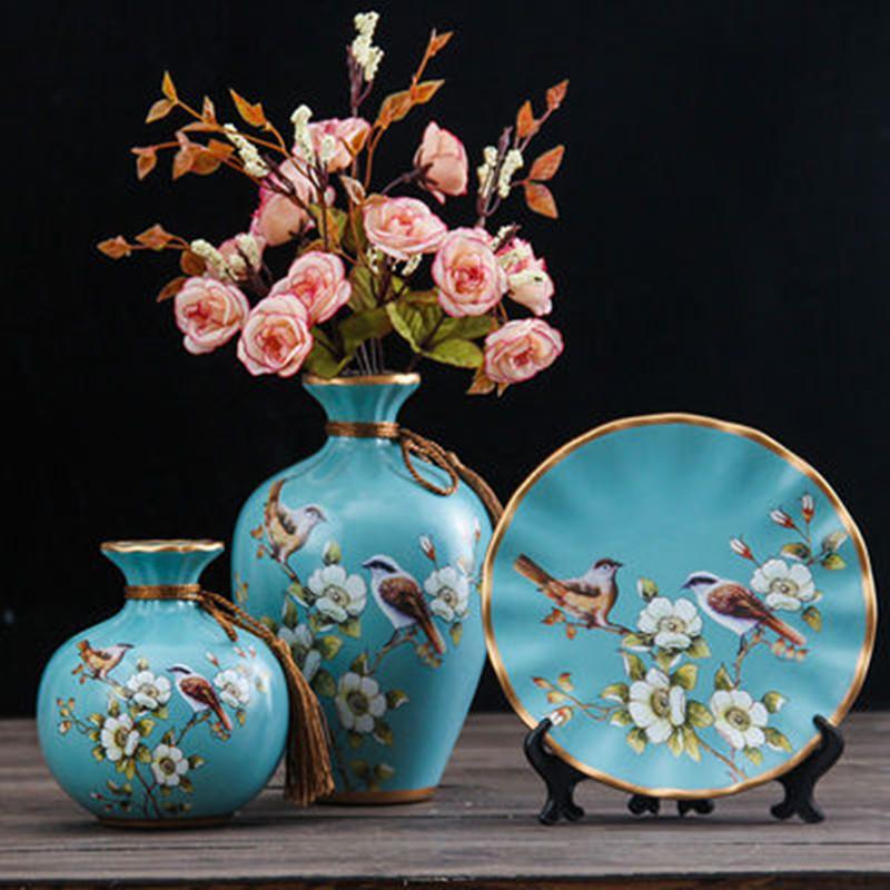 欧式陶瓷花瓶三件套家居客厅电视酒柜创意装饰品玄关礼品摆件