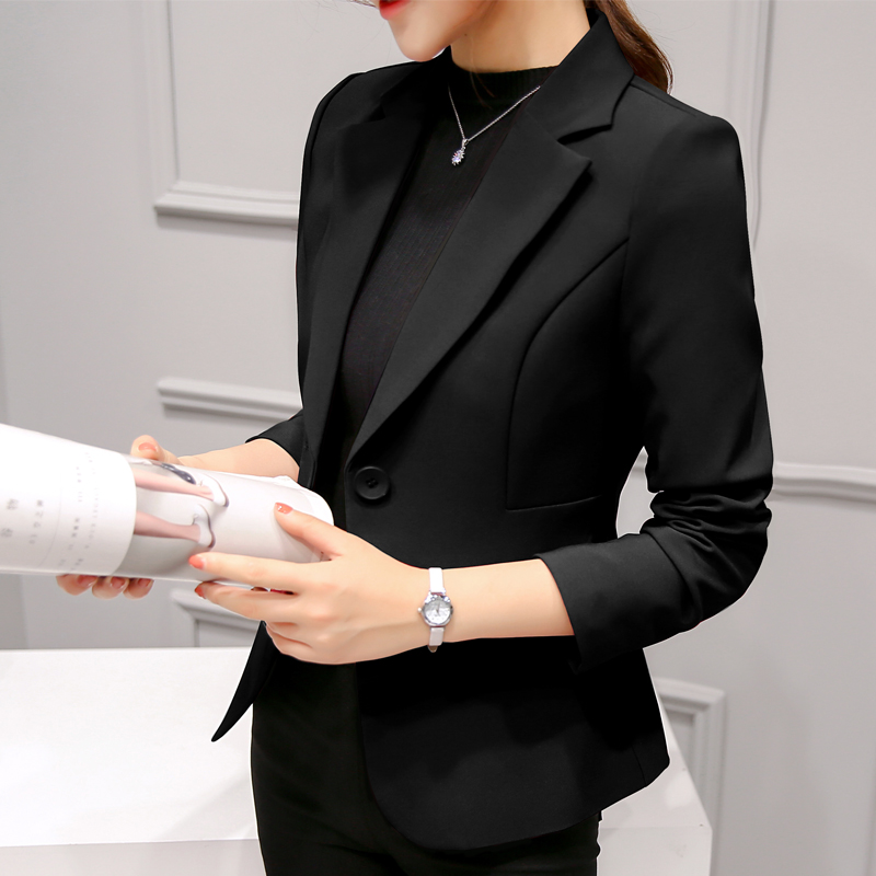2018秋装新款chic职业百搭西服长袖韩版修身显瘦小西装外套女短款