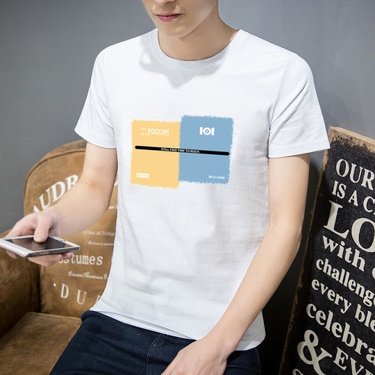 2019 men's short-sleeved T-shirt trend new summer dress body cotton tide brand summer white loose couple clothes