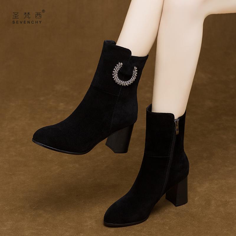 2019新款气质高跟女鞋春款磨砂短靴春秋单靴粗跟真皮鞋中筒马丁靴