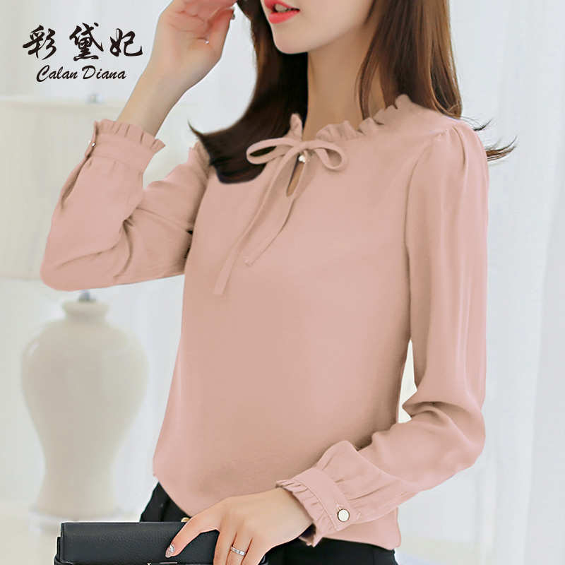 Nice E Toy Word 2019 New Korean Version Spring Temperament Wild Shirt Female Lazy Long-sleeved Shirt Bottoming Chiffon Shirt Female Buy One Give One Women's Clothing