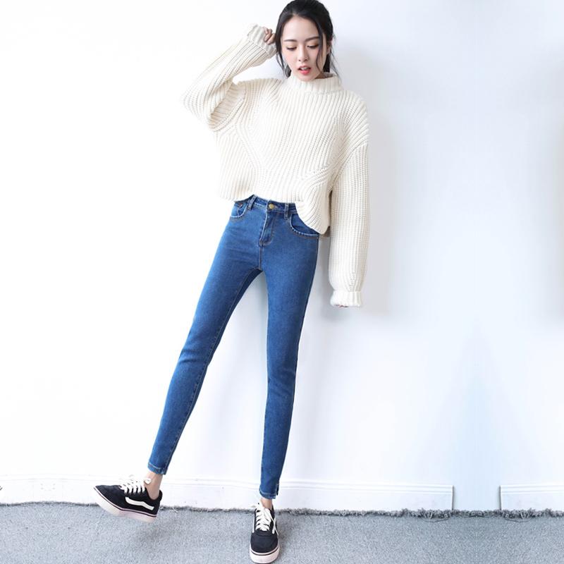 春季修身牛仔裤女九分裤小脚裤
