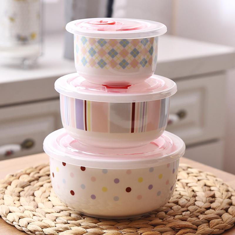 保鲜碗陶瓷带盖泡面碗微波炉专用碗三件套瓷碗家用饭盒套装便当盒