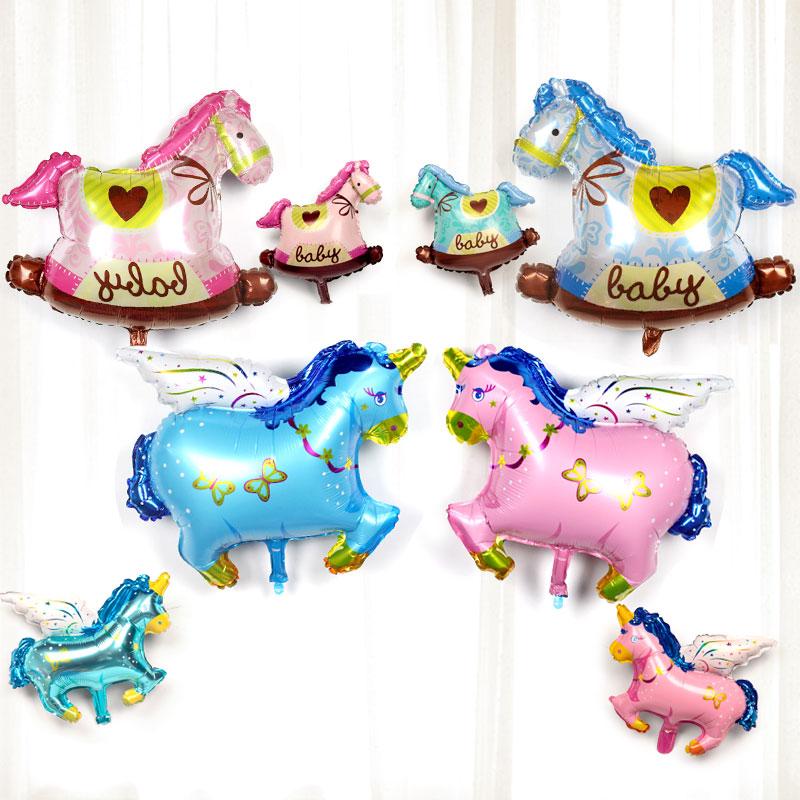 可爱生日铝膜气球木马装饰布置生日飞马宝宝卡通装饰派对迷你气球