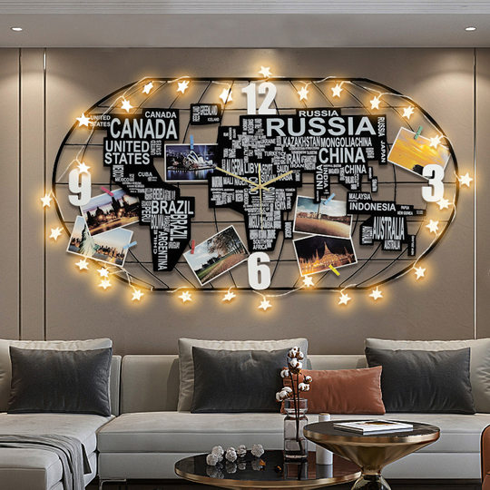 Nordic world map clock wall clock living room creative personality art fashion home clock wall decoration atmosphere