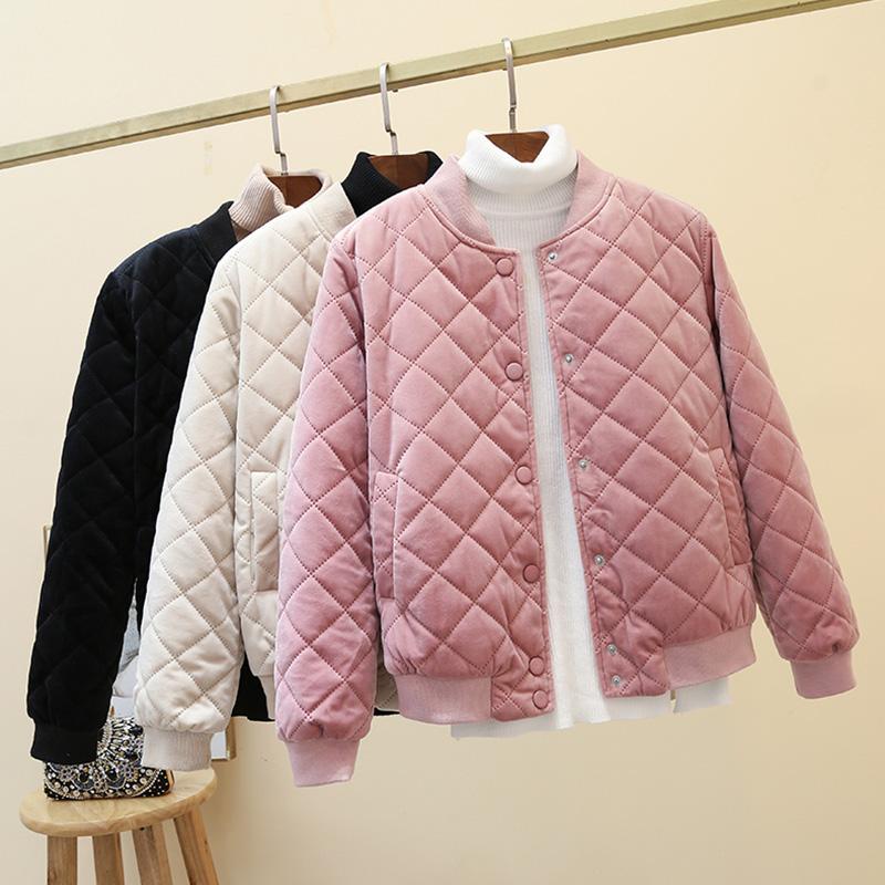 2020新款冬季韩版菱格bf棒球服短款棉衣女外套金丝绒原宿小棉服潮