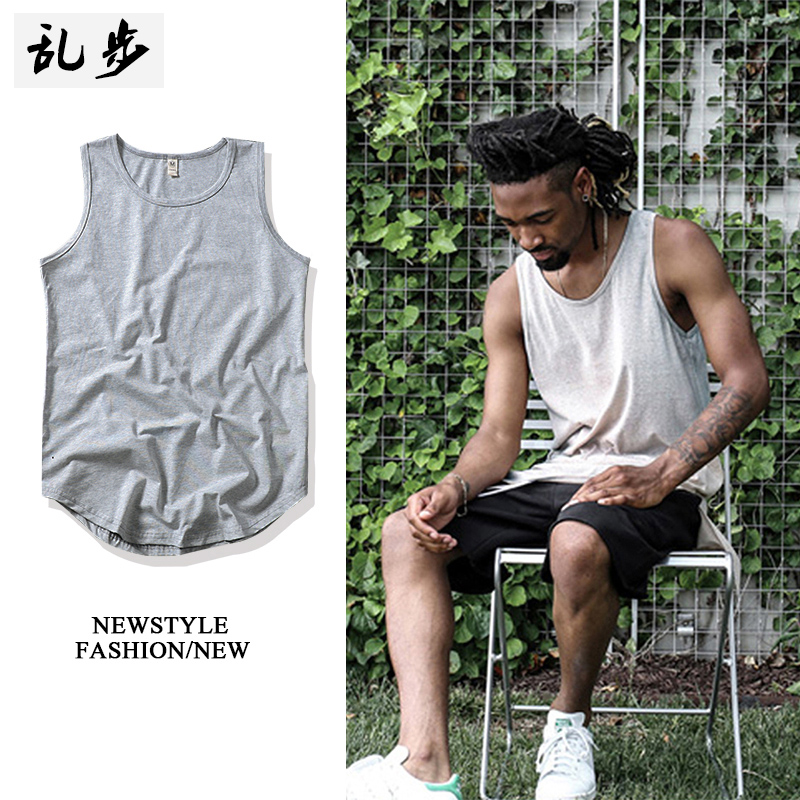 Europe and the United States Wind Summer young men's cotton vest in the long section plus fertilizer to increase the size of Fat Man fat loose sweater