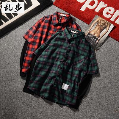 Đầu mùa xuân Hàn Quốc phiên bản của phần mỏng giả hai dài tay áo sơ mi nam lỏng lẻo của kẻ sọc áo sơ mi thanh niên giản dị quần áo áo áo sơ mi nam cao cấp Áo