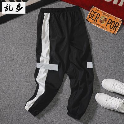 夏季潮男哈伦裤潮流薄款九分裤宽松休闲嘻哈3M反光束脚运动裤