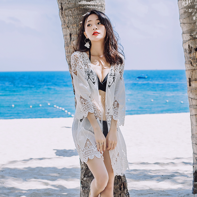 2455962cb295 2019 summer long section hollow lace cardigan shawl thin coat seaside  vacation beach outside sunscreen blouse
