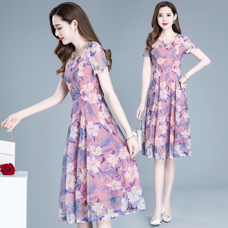 Váy cho mẹ mùa hè 2020 phụ nữ mới lady lady lady rộng và mỏng giữa váy in chữ A - A-Line Váy