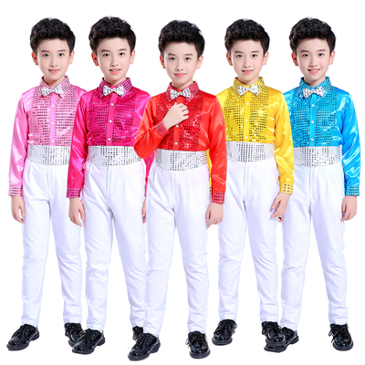 Children's performance clothing boy's bib costumes boys sequins dance primary school chorus set