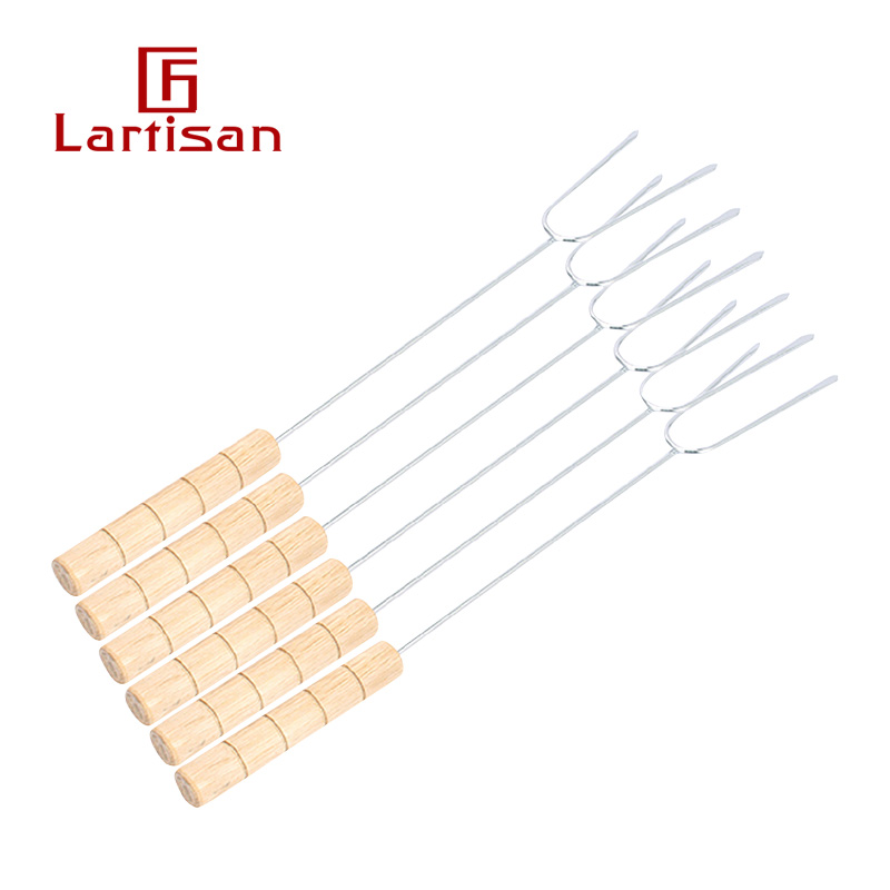 lartisan wooden handle stainless steel barbecue fork barbecue tool single fork U-shaped fork barbecue accessories Fork 6 pack