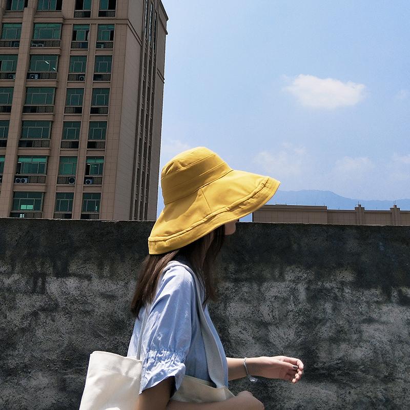 渔夫帽女夏韩版潮百搭日系网红双面遮脸帽子出游大沿防晒帽遮阳帽