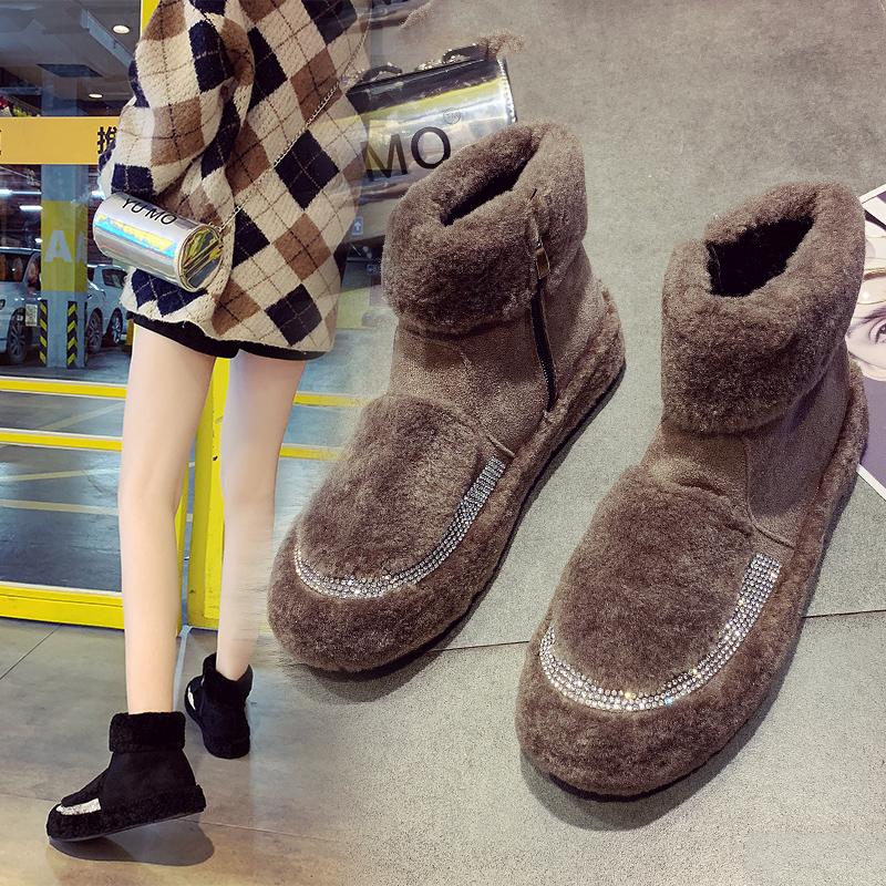 女鞋2018新款欧洲站冬季毛毛鞋水钻加绒雪地靴中筒棉靴子平底短靴