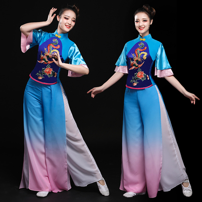 Chinese Folk Dance Costumes Yangge costume performance costume Chinese fans classical dance costume female square dance adult