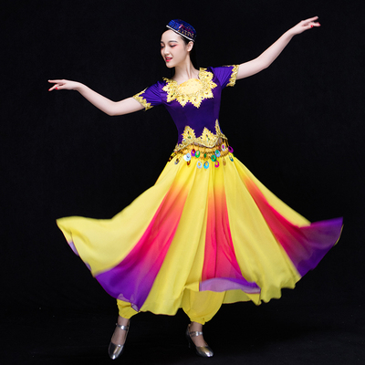 Chinese Folk Dance Costumes Dance Costume grape picking costume Uygur performance costume Opening Dance Dress Adult Woman