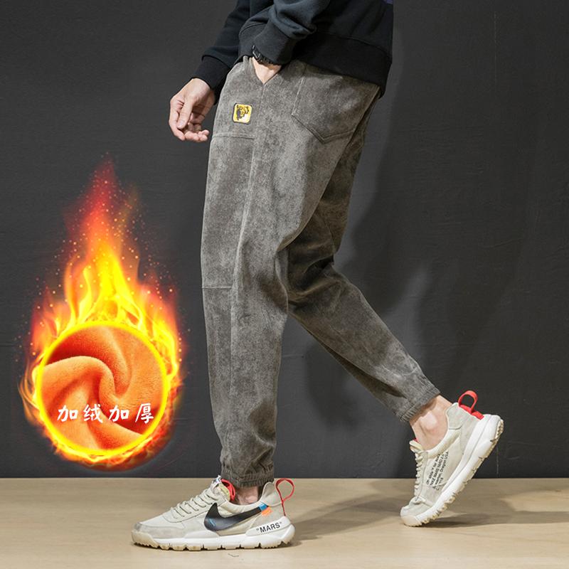 秋冬季灯芯绒裤子男条绒男士休闲裤宽松韩版潮流运动束脚裤