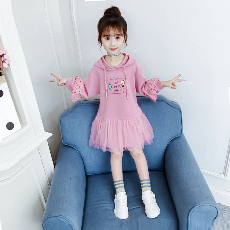Girls dress spring 2020 new spring and autumn sweater skirt children's Western school children's clothing girl long-sleeved skirt
