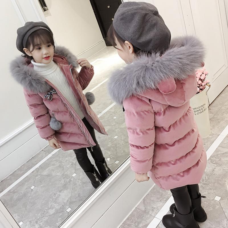 童装女童棉衣2017新款金丝绒洋气冬装中长款棉袄外套儿童羽绒棉服