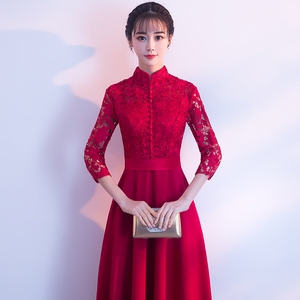 Evening dress prom gown Toastmasters spring and summer red wedding dress banquet back door engagement slim bride evening dress