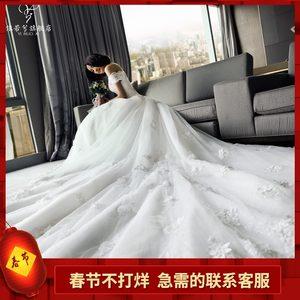 婚纱礼服2019新款新娘结婚奢华一字肩长拖尾孕妇大码显瘦齐地公主